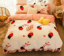 Flannel Strawberry Comfort Bedding Set Duvet Cover Bed Sheet Sets Four-piece