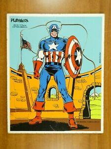 Vintage 1981 Playskool Captain America Wood Tray Puzzle Marvel Comics Group