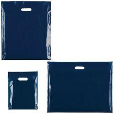 More details for navy blue punch handle plastic carrier gift bag/ boutique/ size : 15