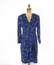 Vtg Abstract Print Purple Blue Silk Lined Cocktail Shirred Pleated Dress