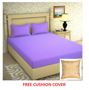 Solid Color Striped Double Bed Sheet with 2 Large Size With Free Cushion Cover