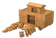 BIG NOAH'S ARK WOOD PULL TOY 14 Animals Handcrafted Wooden BIBLE STORY Play Set