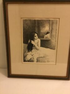 Raphael Soyer Young Woman Combing Hair Signed Lithograph 1970's