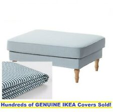 Ikea STOCKSUND Footstool / Ottoman Cover Slipcover REMVALLEN BLUE / WHITE New!