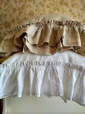 Pillowcase Linen RUFFLE PILLOW SHAM/Envelope/Washed/ Rustic Cushion Cover