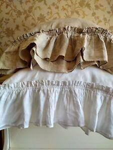 Pillowcase Linen RUFFLE PILLOW SHAM/Envelope/Washed/ Rustic Cushion Cover