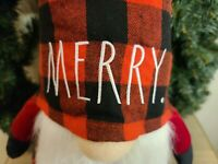 """Rae Dunn """"Merry"""" Large Gnome Red and Black Buffalo Plaid New Christmas 2020 HTF"""