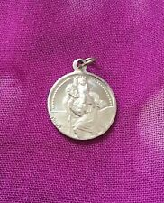 Vintage Antique Silver 1900s French St. Christopher Amulet Pendant Estate Find