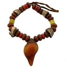 "Resin Glass Conch Shell Beads Necklace 26"" Tibetan Handmade Tribal Ethnic UN1917"