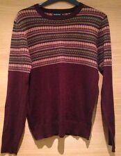 Taglia SMALL S UOMO Maglione Knit Wear Top FairIsle Nordico Scandinavia Bordeaux
