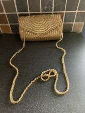 Dune Gold Beaded Evening Clutch Bag