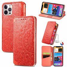 Apple iPhone 12 / 12 Pro Handyhülle Schutztasche Case Cover Wallet Mandala Rot