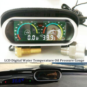 12V 24V Car Truck LCD Digital Water Temperature Oil Pressure Gauge with Sensor