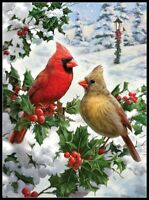 Cardinal Couple - Chart Counted Cross Stitch Pattern Needlework Xstitch Craft