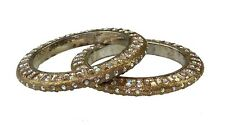 Pair of Gold glitter diamante & rectangle stone bangles Indian Bollywood (x2)