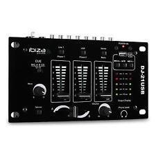 TABLE DE MIXAGE IBIZA SOUND DJ-21 USB BATTLE MIXER DJ PA 2/3 CANAUX TALKOVER MIC