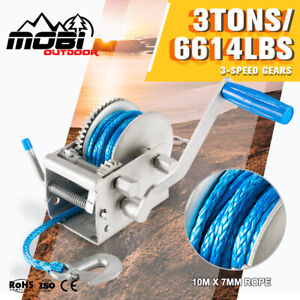 MOBI 3Tons Hand Winch 3-Speed 10M x 7MM Dyneema Synthetic Rope Boat 4X4 Recovery