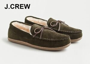 J.CREW corduroy slippers shoes sherpa moccasins olive green faux shearling 8 9 M