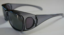 100%UV Andevan Polarized Sunglass cover over Rx glass,fit-clear bk unisex adult