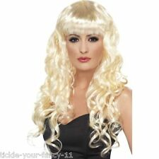 Women's Blonde Siren Wigs 1980's Glamour Fancy Dress Hen Gaga Wonder Woman Model