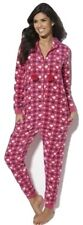 Adore Heart Print Pink Polyester Fleece ALL IN ONE Long Sleeve Hoodie UK Large