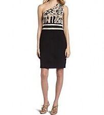 NEW BCBG MAX AZRIA BLACK COMBO ONE SHOULDER DRESS SIZE L