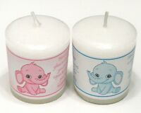 14 PINK OR BLUE ELEPHANT BABY SHOWER FAVORS PERSONALIZED VOTIVE CANDLE LABELS