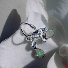 äthiopien opal ohrringe, bali  orchideen design, 925 silber