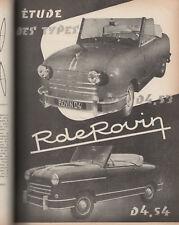 REVUE TECHNIQUE AUTOMOBILE 89 RTA 1953 ROVIN D4 TRACTEUR ALLIS CHALMERS G