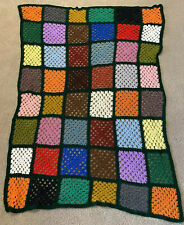 Vintage Granny Square Afghan Crochet Blanket Throw Autumn Sofa Black Boho Multi
