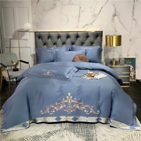 Luxury European Egyptian Cotton Chic Embroidery Bedding Set  Cover Bed Sheet4Pcs