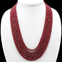 658.50 CTS EARTH MINED 7 LINE RED RUBY ROUND SHAPE FACETED BEADS NECKLACE (RS)