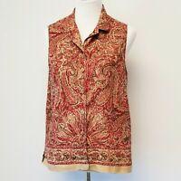 Women's JONES NEW Top size 14 Semi Sheer Sleeveless Silk Linen Paisley Cami Top