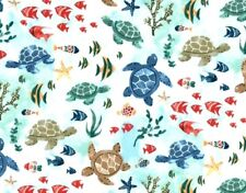 Fat Quarter Fabric Sea Turtles & Friends Star Fish Ocean Tropical Coral Cotton