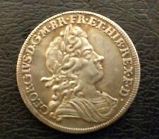 NICE RARE GEORGE I 1720 ROSES & PLUMES HALFCROWN IN EXT FINE -RESTRIKE