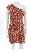 Frock By Tracy Reese Orange Beige Animal Print Ruffled One Shoulder Dress Size 4