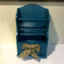 Wood Magazine Rack Wall Mount or Tabletop Teal with Burlap Bow Primitive Country