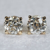 Old European Mine Cut Diamond Stud Earrings 14k Natural Old Euro Diamond Studs