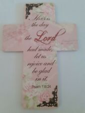Decorative Wall Cross - Psalm 118, Home, Christian, Jesus. 24 x 17cm, free PP