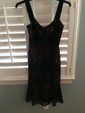 Ann Taylor Loft Woman's Sz2 Black Lace Dress Over Nude Classy Sexy