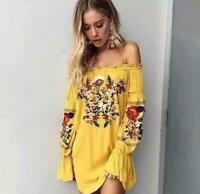 2019 Floral Embroidered off Shoulder Short Dress Womens vestido Boho Long Sleeve