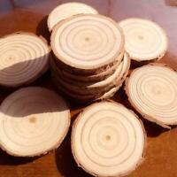 10 stücke Unfinished Natürliche Runde Holz Scheiben Kreise Discs für DIY Su D0O1