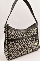TOMMY HILFIGER Small Monogram Fabric Shoulder Bag, Black/Natural