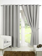 Pair of Silver Grey 66'' x 90'' Supersoft Blackout Curtains Ring Top  Eyelet