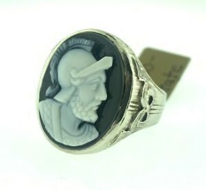 Vintage Art Deco Warrior Hand Carved Stone Cameo Mens Ring 14k White Gold Size 9
