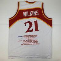 Autographed/Signed DOMINIQUE WILKINS Atlanta White Stat Jersey PSA/DNA COA