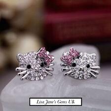 GATTO Hello Kitty Stud Argento Diamante Sparkle Orecchini Ragazze UK Pretty Pink Carino