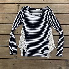 paper + tee sz L Navy White Striped Soft Cotton Long Sleeve Shirt Crochet Side