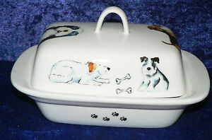 Dogs design traditional deep white butter dish many different breeds