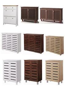 2 3 Doors Shoe Storage Cabinet Tall Cupboard White Dark Rustic Sonoma Oak Grey